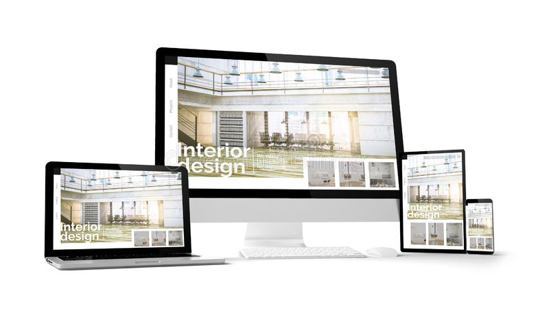 有室内设计网站空间的计算机小配件在屏幕上 库存图片