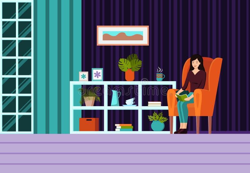 有家具、窗口、扶手椅子有坐的妇女的和帷幕的客厅 现代平的动画片样式传染媒介 库存例证