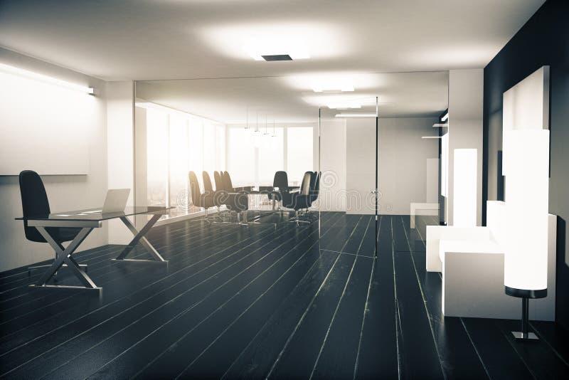 有家具、玻璃墙壁和黑木fl的现代办公室 皇族释放例证