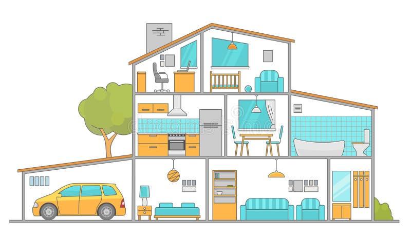 有家具的内部室 平的样式传染媒介例证 向量例证