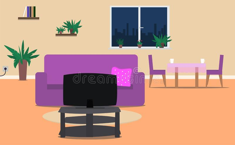 有家具的客厅和餐厅内部室 也corel凹道例证向量 皇族释放例证
