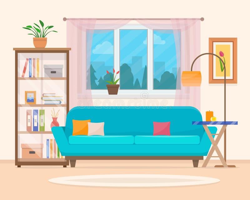 有家具的客厅 库存例证