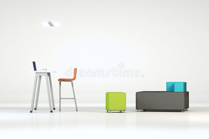 有家具的白色干净的办公室 库存图片