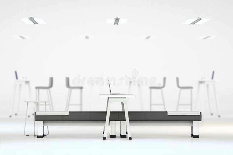 有家具的白色干净的办公室 免版税库存照片