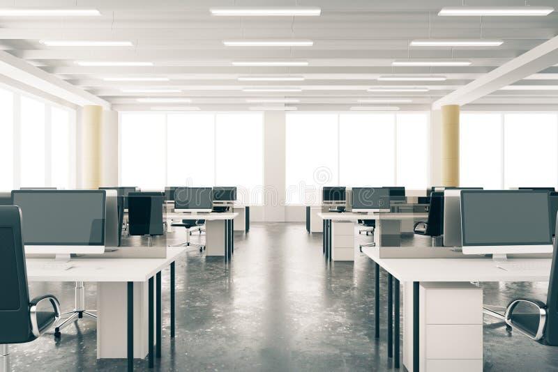 有家具的,水泥地板,双现代露天场所顶楼办公室 向量例证