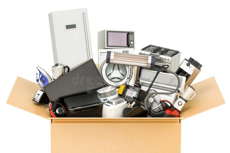有家庭和厨房器具的纸板箱,购物 库存例证