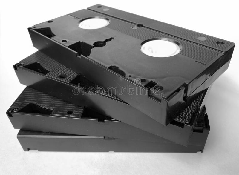有家庭录影的,关闭葡萄酒老VHS卡式磁带 免版税库存图片