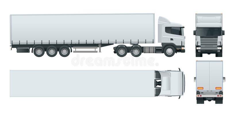 有容器的卡车拖车 提供车模板传染媒介的货物隔绝在白色看法前面,后方,边,上面 皇族释放例证