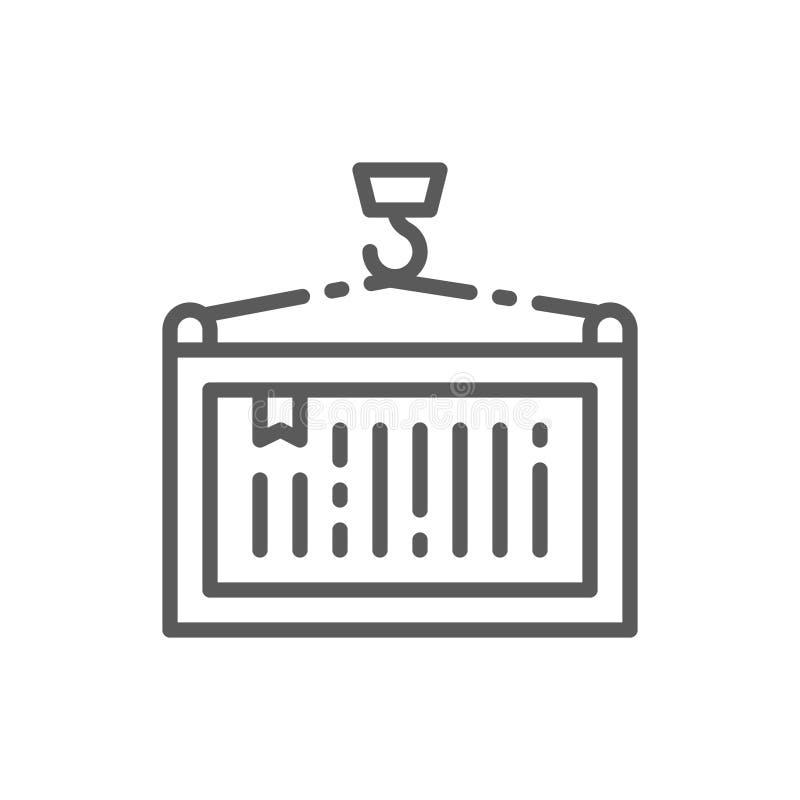 有容器的,起重机推力线象勾子 库存例证