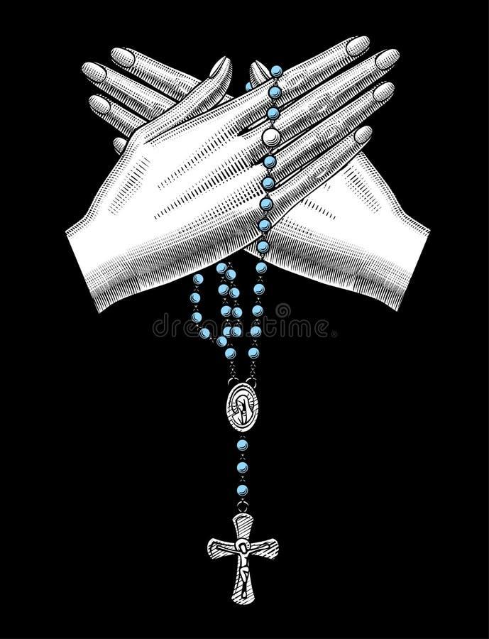 有宽容念珠的横渡的妇女` s手在黑色 库存例证