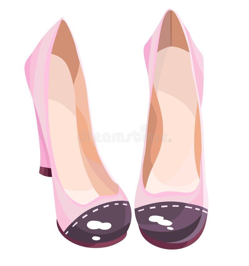 有对比的逗人喜爱的桃红色高跟鞋 皇族释放例证