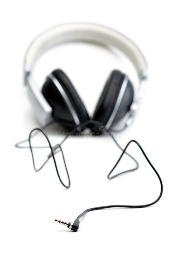 有导线的耳机 库存照片
