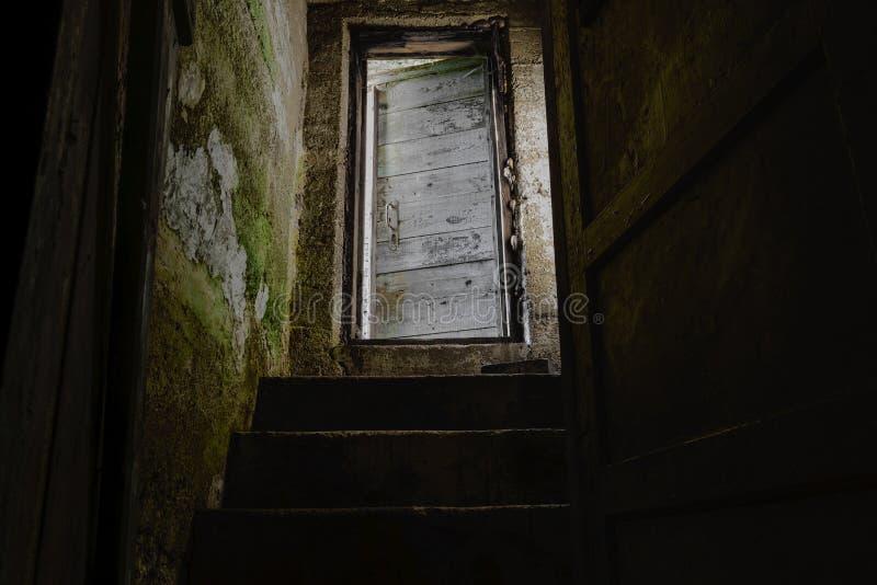 有导致下来黑暗的地下室的老和白色门的黑暗的台阶 库存照片