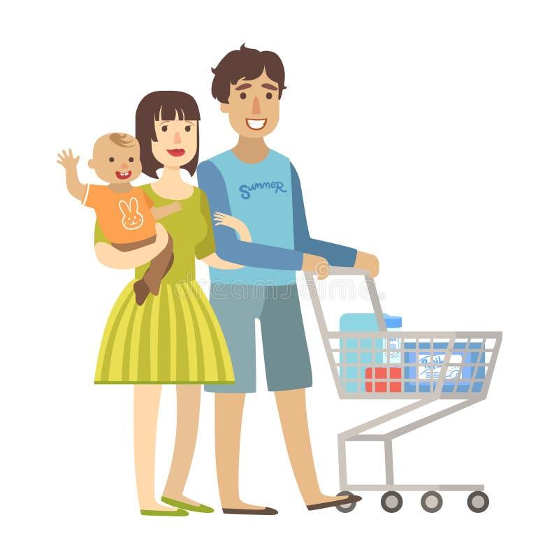 有小儿子购物的年轻父母在超级市场,从愉快的爱恋的家庭系列的例证 皇族释放例证