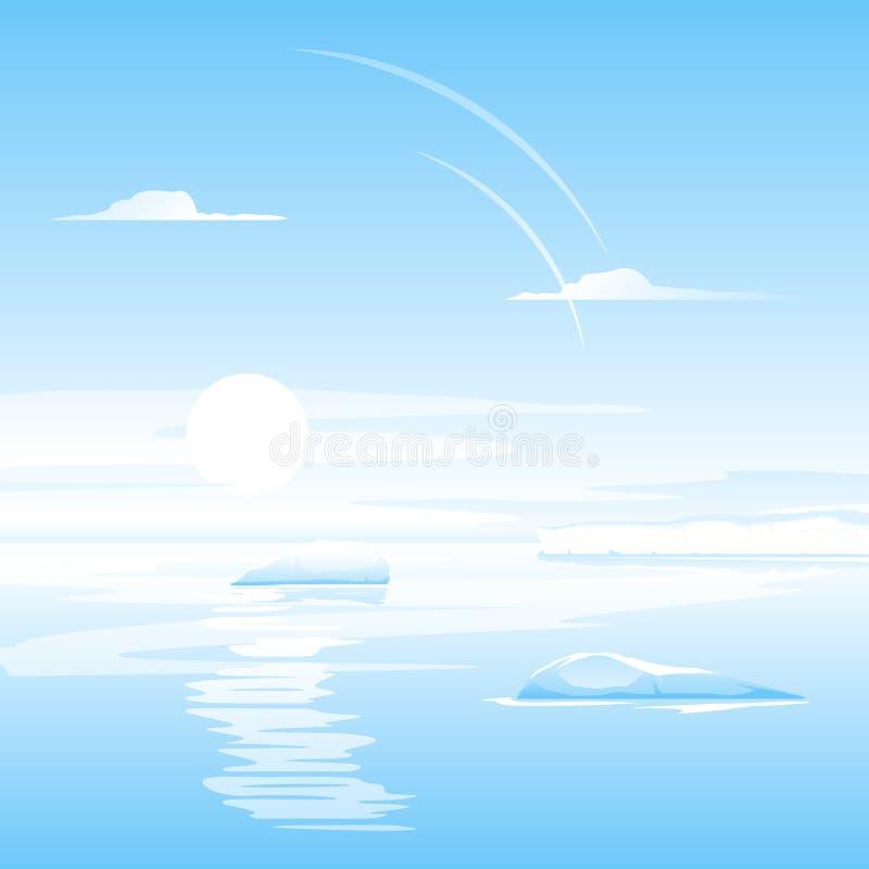 有小冰山风景的海 库存例证
