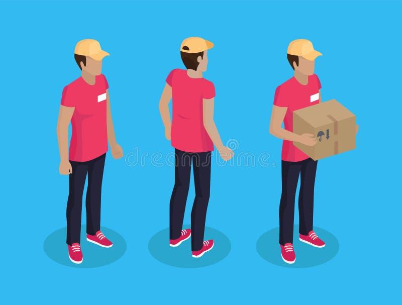 有小包集合传染媒介例证的送货人 向量例证