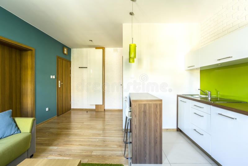 有小厨房的宽敞旅馆客房 库存图片