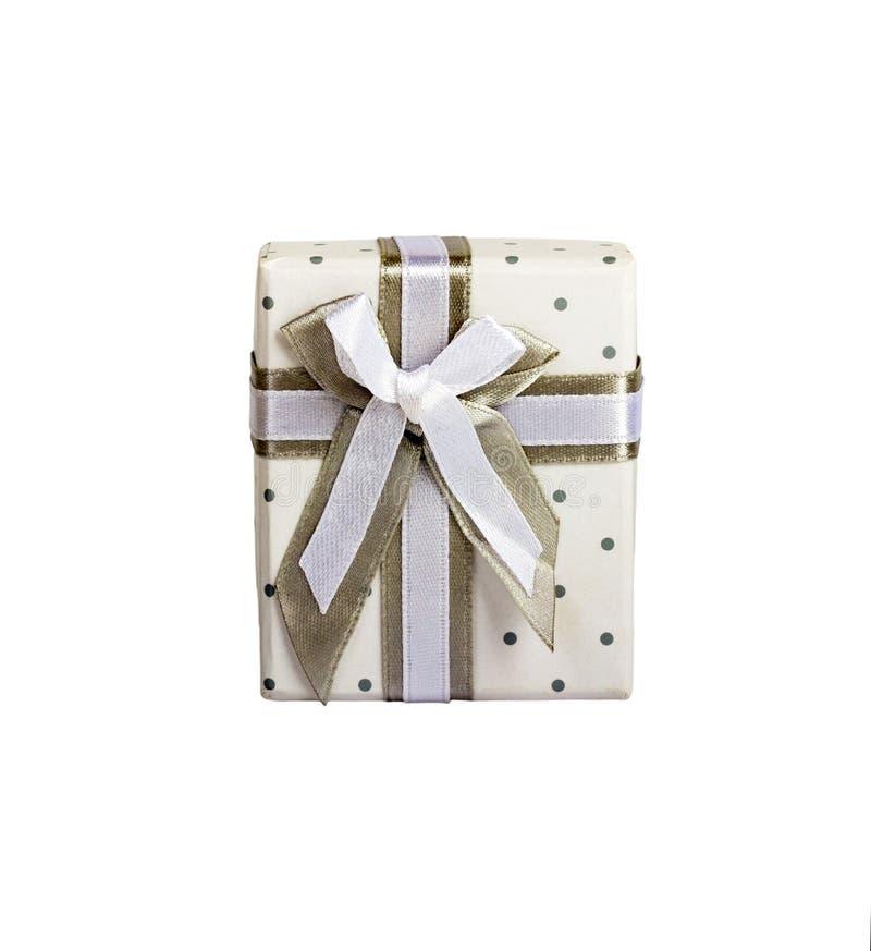 有小圈子灰色织品磁带的白色礼物盒有灰色领带的 垂直 库存照片