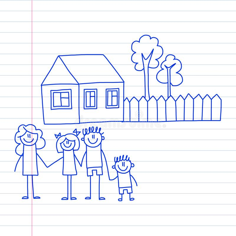 有小孩子和画传染媒介例证蓝墨水在笔记薄,笔记本的房子孩子的幸福家庭笔图象 库存例证