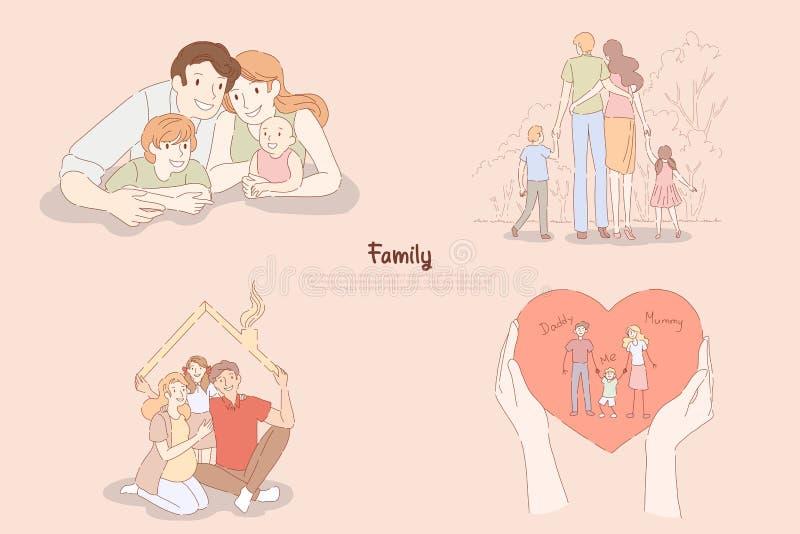 有小孩的,夫妇愉快的父母与孩子一起在家或在室外漫步,家族关系横幅 库存例证