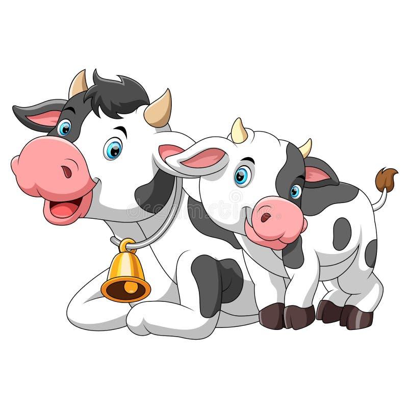 有小小牛的逗人喜爱的母牛母亲 库存例证