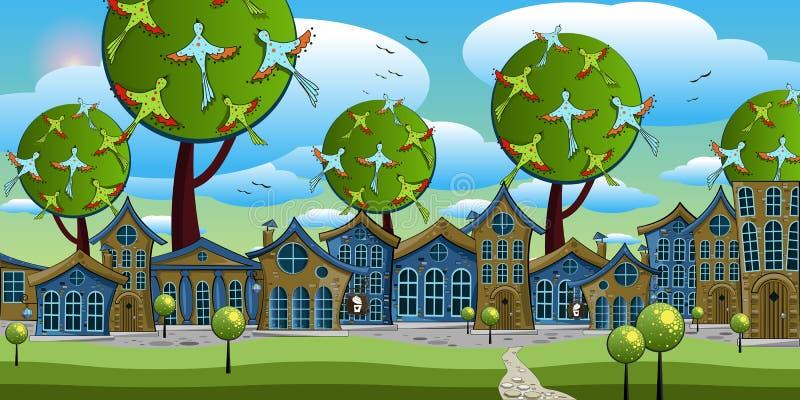 有小屋的美妙的城市大树背景的  库存例证