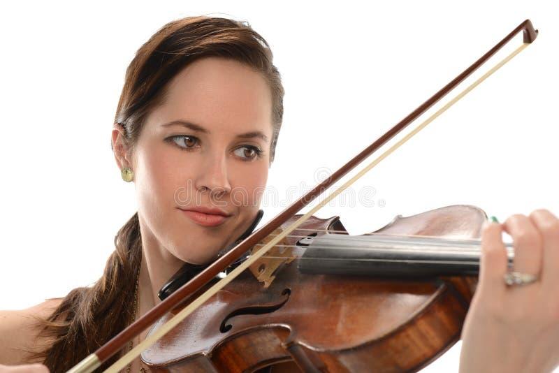 有小提琴的少妇 库存图片