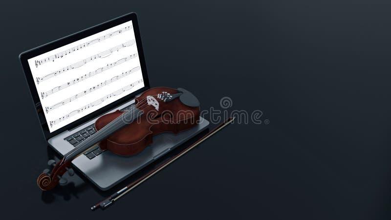 有小提琴的计算机 向量例证