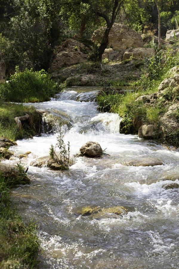 有小河流动的水路线 免版税库存图片