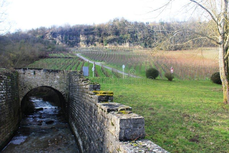 有小河的石桥梁 免版税图库摄影