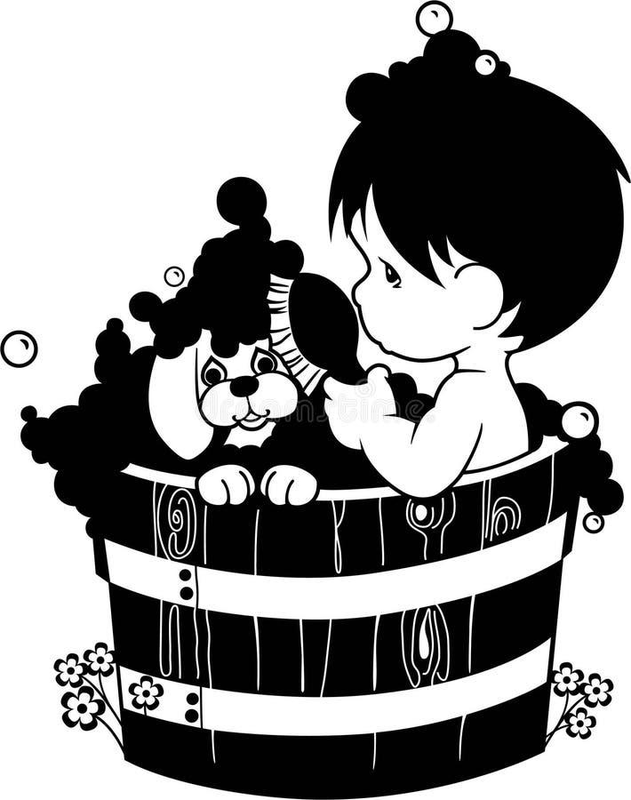 Download 有小狗的小男孩谈的巴恩 库存例证. 插画 包括有 卑鄙, 婴孩, 小狗, 逗人喜爱, 泡沫, 例证, 产生 - 72358870