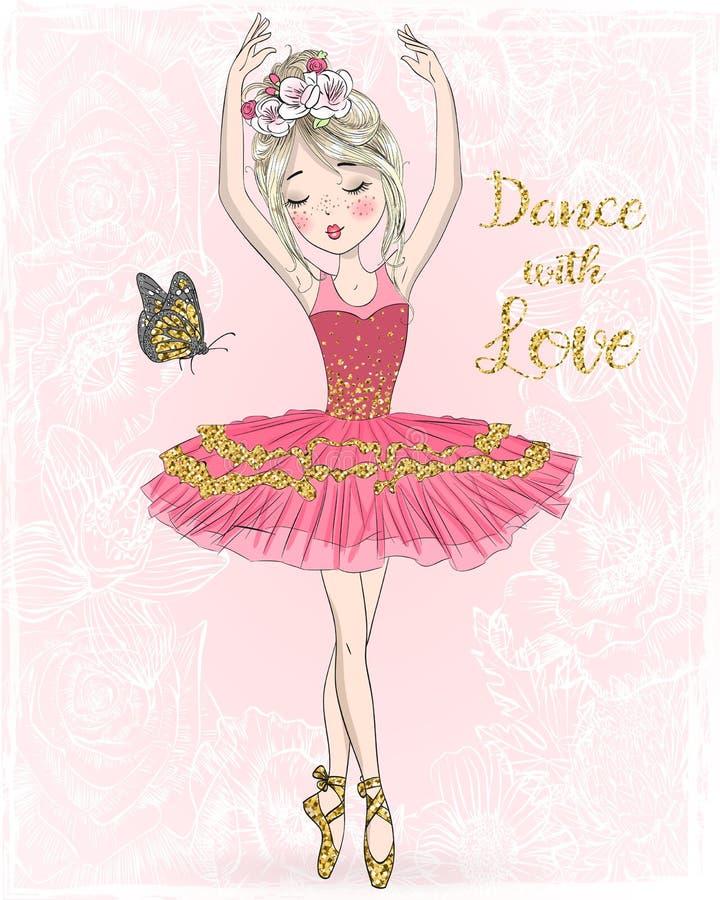 有小的鹿的手拉的美丽的逗人喜爱的芭蕾舞女演员女孩 皇族释放例证