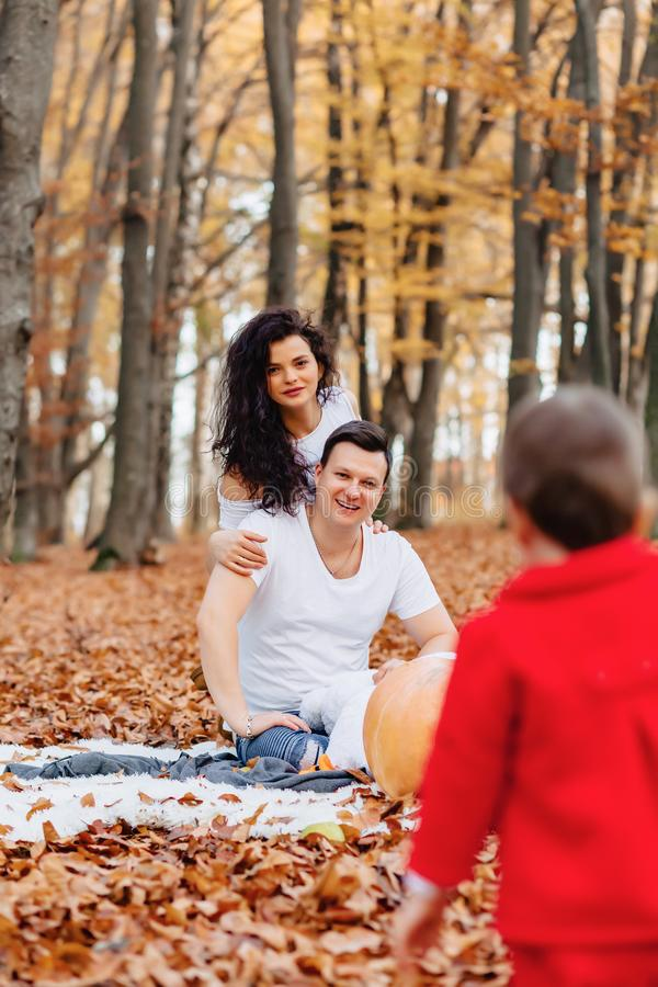 有小逗人喜爱的孩子的幸福家庭在黄色叶子的公园与 图库摄影