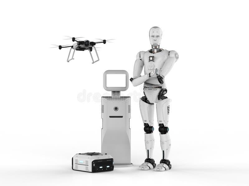 有小配件的靠机械装置维持生命的人 向量例证