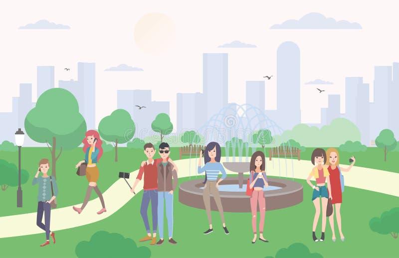 有小配件的青年人在公园 沟通由智能手机和移动设备的人和女孩,做selfie 库存例证