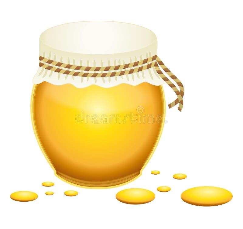 有小滴的蜂蜜瓶子。 向量例证