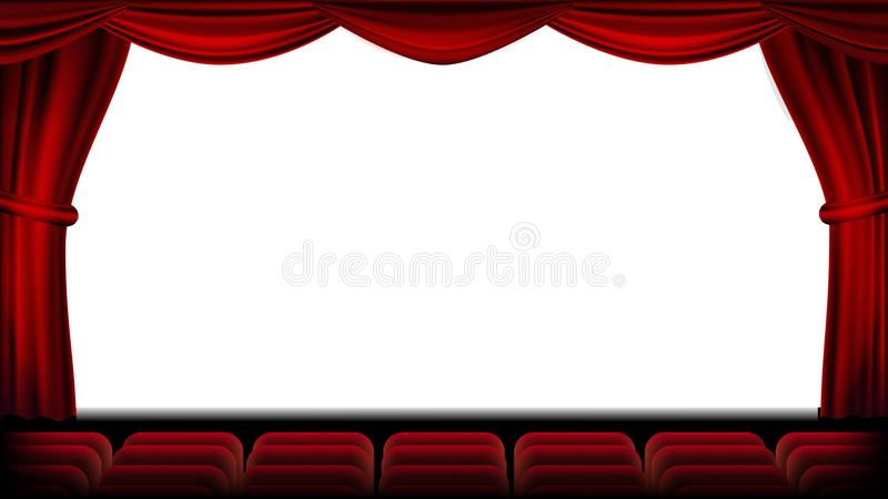 有就座传染媒介的观众席 红色窗帘 剧院、戏院屏幕和位子 阶段和椅子 可实现轻快优雅的例证 向量例证