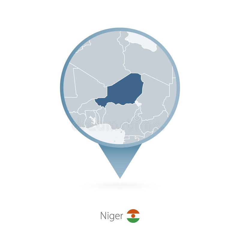 有尼日尔和邻国详细的地图的地图别针  皇族释放例证
