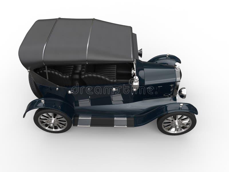 有屋顶的深蓝葡萄酒敞蓬车汽车 向量例证
