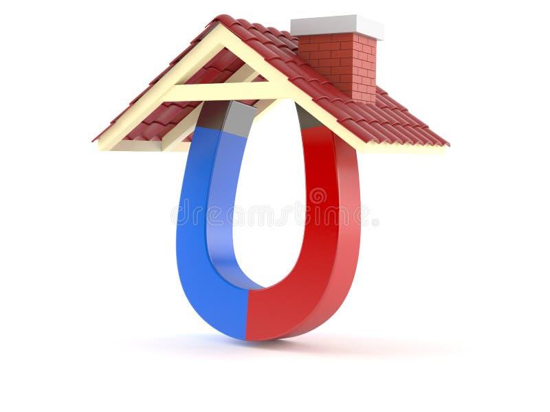 有屋顶的马掌磁铁 库存例证