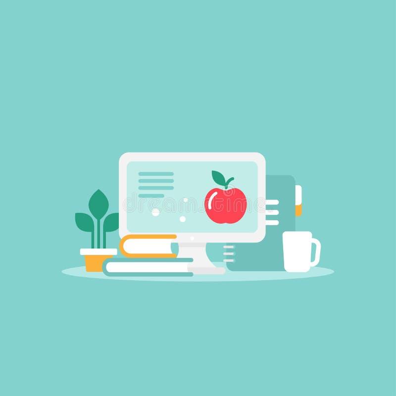 有屏幕、杯子、书和blocknote的工作场所 在蓝色背景隔绝的工作场所 库存例证