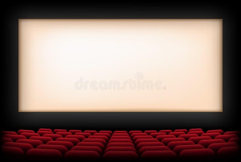 有屏幕和红色位子的戏院观众席 向量 向量例证