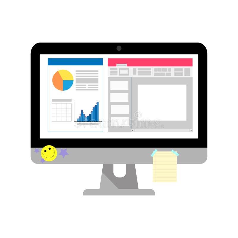 有屏幕新闻的企业计算机和图表有笔记薄和贴纸在屏幕上 皇族释放例证