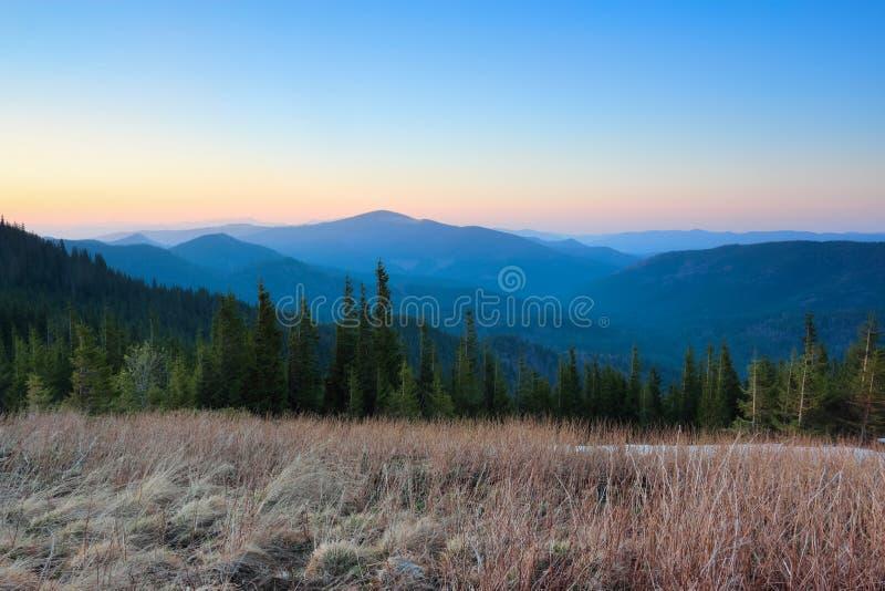 有山的全景 有干草的草坪 不可思议的森林日出 一些反弹严格晴朗那里不是的蓝色云彩日由于域重点充分的绿色横向小的移动工厂显示天空是麦子白色风 自然淡色 库存图片