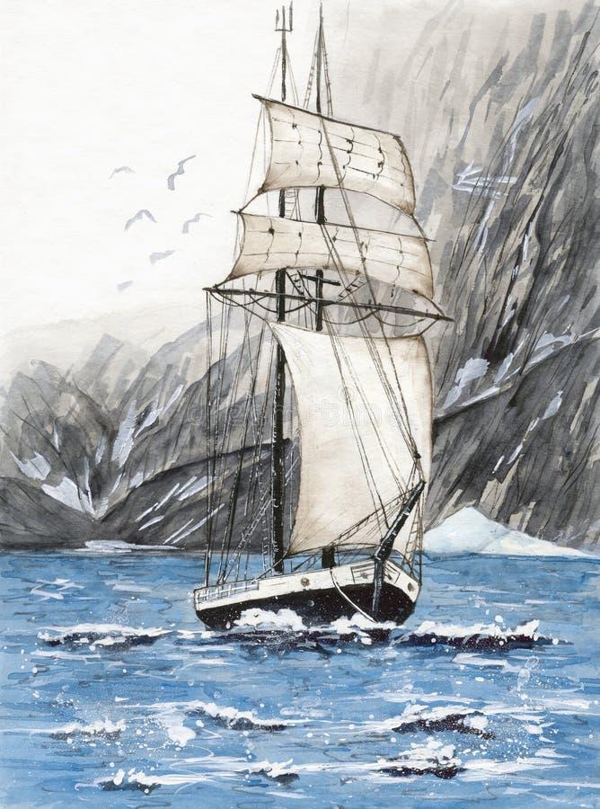 有山的水彩高船 皇族释放例证