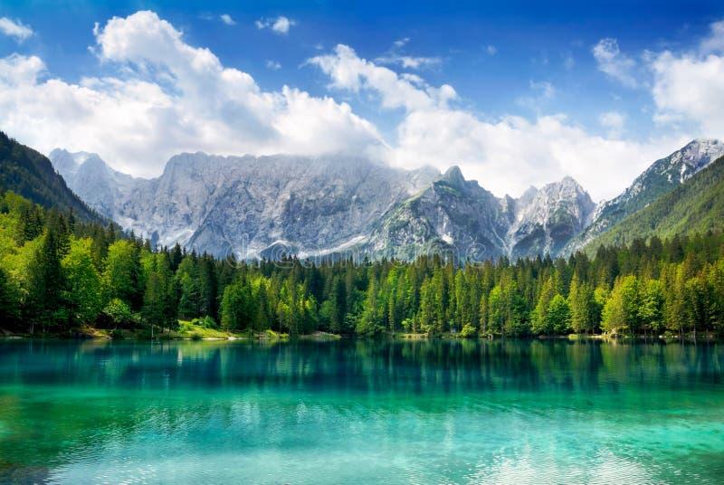 有山的美丽的湖在背景中 免版税图库摄影