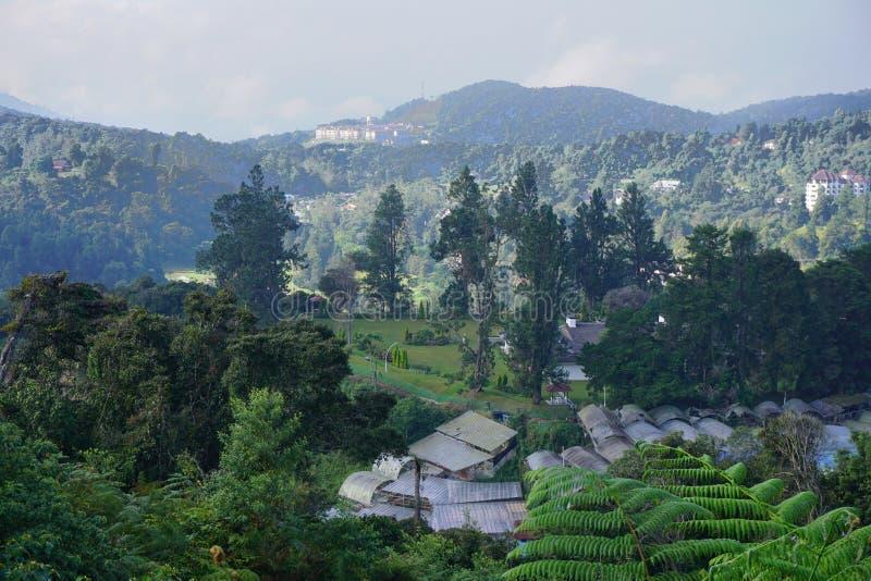 有山bachground的小村庄在金马仑高原,马来西亚 免版税库存图片