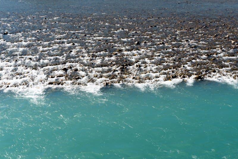 有岩石和另外颜色大海的莱茵河 免版税库存图片