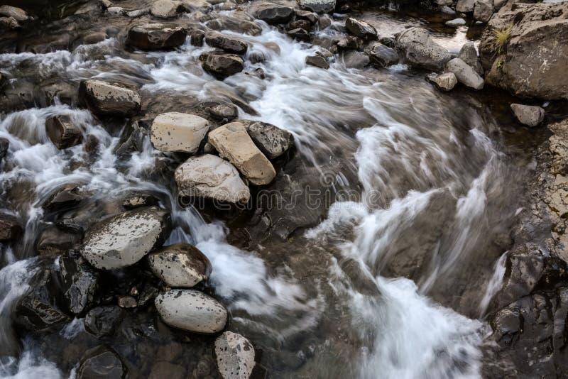 有岩石的河在行动迷离,冰岛在夏天 免版税库存照片