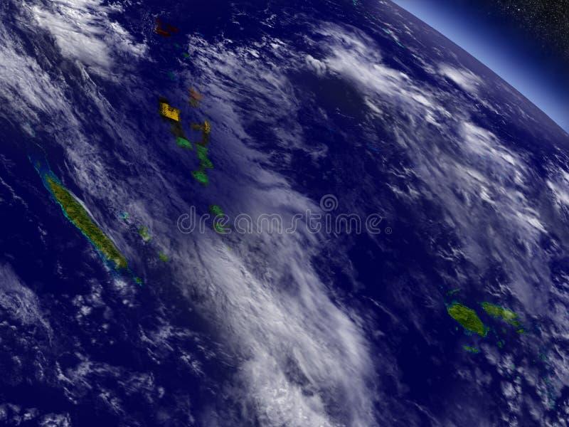 有嵌入旗子的瓦努阿图地球上 向量例证